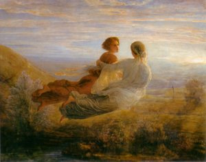 Reproduction oil paintings - Anne-Francois-Louis Janmot - Le Poème de l'âme - Le Vol de l'âme (The Poem of the Soul - The Soul's Flight)