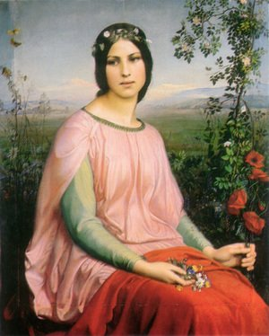 Anne-Francois-Louis Janmot reproductions - Les fleurs des champs (Flowers of the Field) (or Wildflower)
