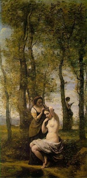 Reproduction oil paintings - Jean-Baptiste-Camille Corot - Le Toilette (or Landscape with Figures)