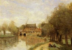 Reproduction oil paintings - Jean-Baptiste-Camille Corot - Arleux-du-Nord, the Drocourt Mill, on the Sensee