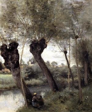 Reproduction oil paintings - Jean-Baptiste-Camille Corot - Saint-Nicholas-les-Arras; Willows on the Banks of the Scarpe