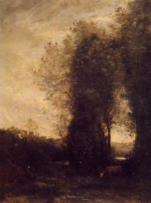 Reproduction oil paintings - Jean-Baptiste-Camille Corot - A Cow and its Keeper