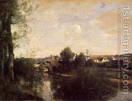Jean-Baptiste-Camille Corot: Old Bridge at Limay, on the Seine - reproduction oil painting