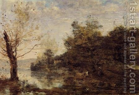 Jean-Baptiste-Camille Corot: Cowherd by the Water - reproduction oil painting