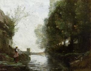 Reproduction oil paintings - Jean-Baptiste-Camille Corot - Le cours d'eau à la tour carrée (Watercourse leading to the square tower)