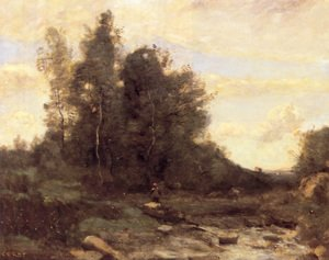 Reproduction oil paintings - Jean-Baptiste-Camille Corot - Le Torrent Pierreaux (Crépuscule) (The Pierreaux Torrent (Twilight))