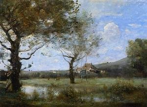 Reproduction oil paintings - Jean-Baptiste-Camille Corot - Meadow with Two Large Trees