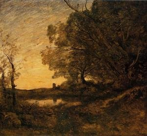 Reproduction oil paintings - Jean-Baptiste-Camille Corot - Evening - Distant Tower
