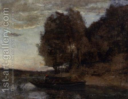 Jean-Baptiste-Camille Corot: Fisherman Boating along a Wooded Landscape - reproduction oil painting