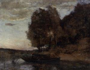 Reproduction oil paintings - Jean-Baptiste-Camille Corot - Fisherman Boating along a Wooded Landscape