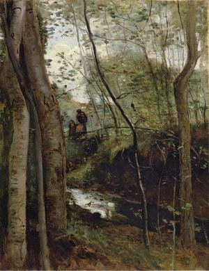 Reproduction oil paintings - Jean-Baptiste-Camille Corot - Un ruisseau sous bois (Stream in the Woods)