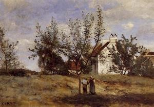 Reproduction oil paintings - Jean-Baptiste-Camille Corot - An Orchard at Harvest Time