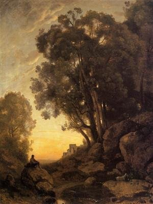 Reproduction oil paintings - Jean-Baptiste-Camille Corot - The Italian Goatherd, Evening