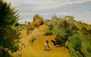 Reproduction oil paintings - Jean-Baptiste-Camille Corot - Genzano - Goatherd and Village