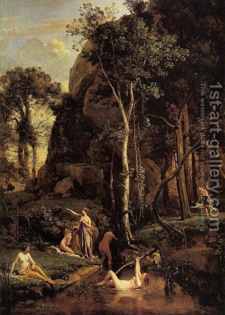 Diana Surprised at Her Bath by Jean-Baptiste-Camille Corot - Reproduction Oil Painting