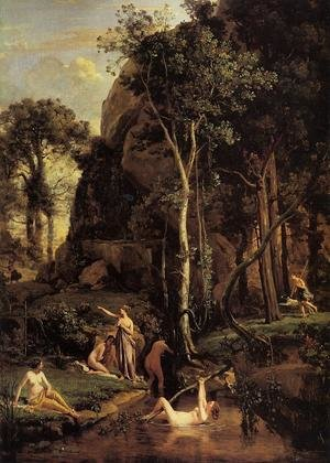 Reproduction oil paintings - Jean-Baptiste-Camille Corot - Diana Surprised at Her Bath