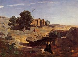 Reproduction oil paintings - Jean-Baptiste-Camille Corot - Hagar in the Wilderness