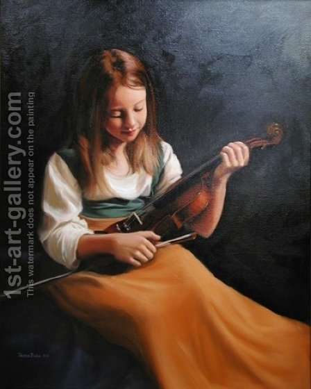 Girl with a Violin by Hendrikus van den Sande Bakhuyzen - Reproduction Oil Painting