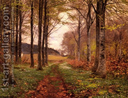 A Woodland Landscape by Hans Anderson Brendekilde - Reproduction Oil Painting