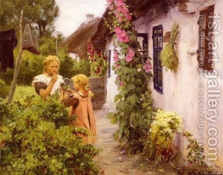 The Cottage Garden by Hans Anderson Brendekilde - Reproduction Oil Painting