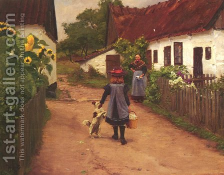 Visiting Grandmother by Hans Anderson Brendekilde - Reproduction Oil Painting