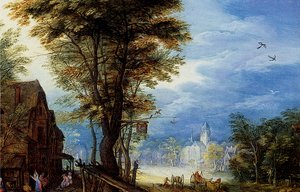 Famous paintings of Villages: A Village Street With The Holy Family Arriving At An Inn [detail: 1]