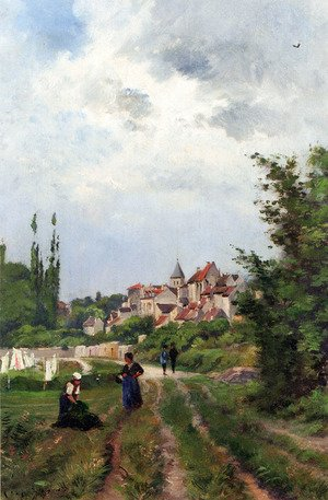 Famous paintings of Villages: Washer Women_On A Sandy Track With A Village Beyond