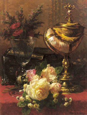 Famous paintings of Vases: A Bouquet of Roses and other Flowers in a Glass Goblet with a Chinese Lacquer Box and a Nautilus Cup on a red Velvet draped Table