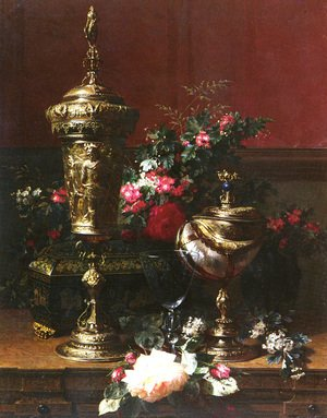 A Still Life With A German Cup, A Nautilus Cup, A Goblet An Cut Flowers On A Table