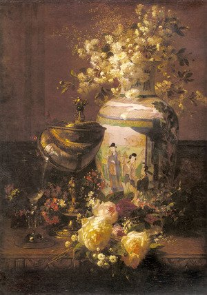 Still Life With Japanese Vase And Flowers