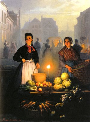 Famous paintings of Markets: A Market Stall by Moonlight