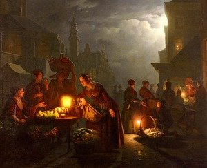 Famous paintings of Vegetables: The Candlelit Market