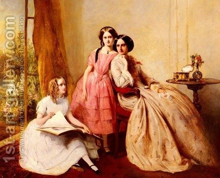 A Portrait Of Two Girls With Their Governess by Abraham Solomon - Reproduction Oil Painting