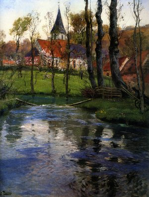 Famous paintings of Villages: The Old Church by the River