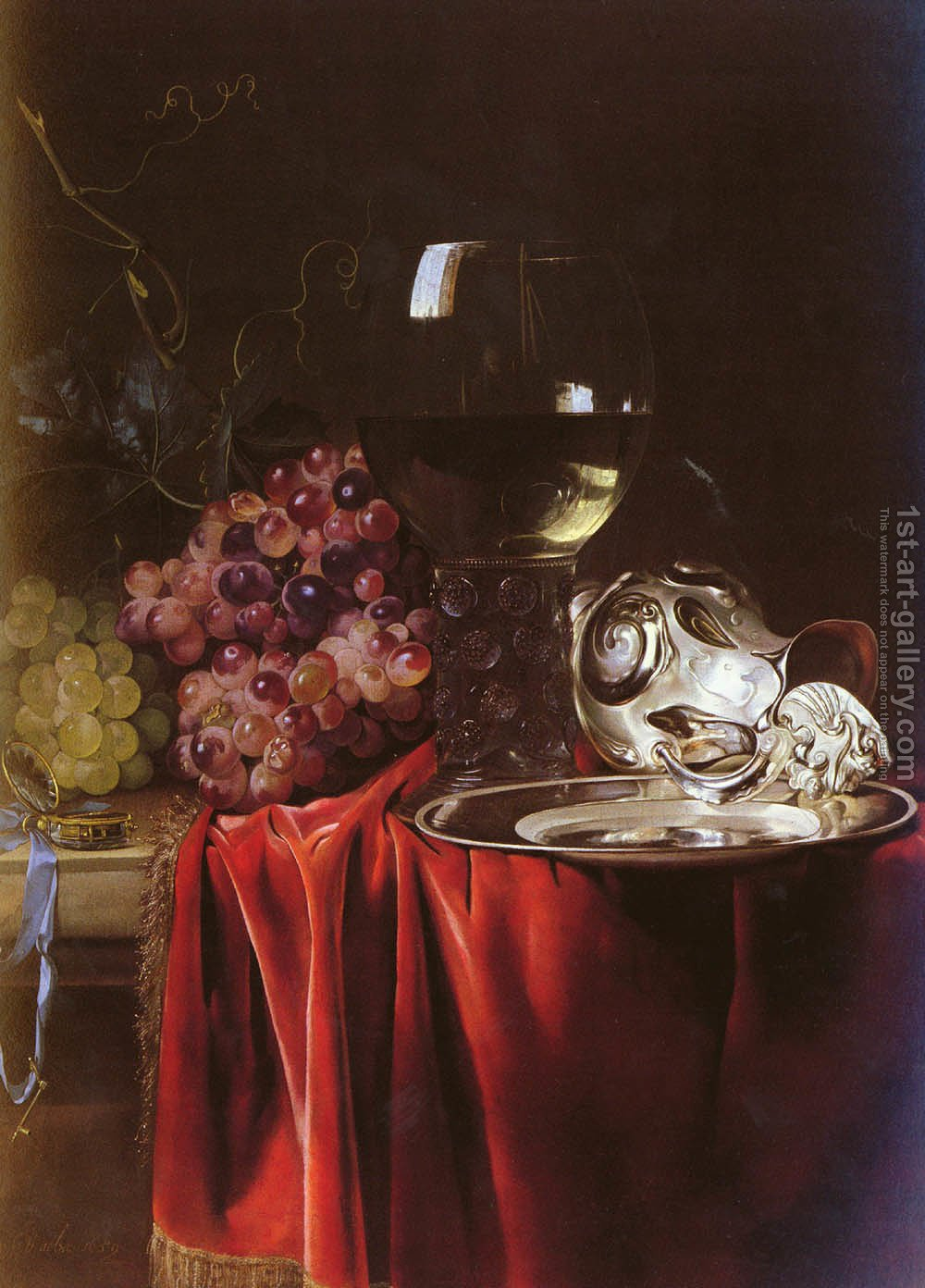 Huge version of A Still Life of Grapes, a Roemer, a Silver Ewer and a Plate