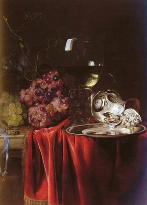 Reproduction oil paintings - Willem Van Aelst - A Still Life of Grapes, a Roemer, a Silver Ewer and a Plate