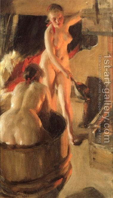 Badande kullor i bastun (Women bathing in the sauna) by Anders Zorn - Reproduction Oil Painting
