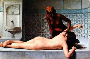 Famous paintings of Fountains: Le Massage scene de Hammam (The Massage in the Harem)