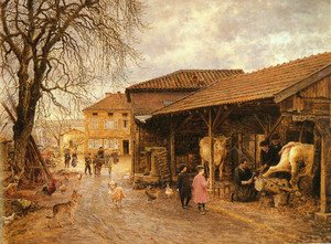 Famous paintings of Villages: Le Feurage Des Boeufs