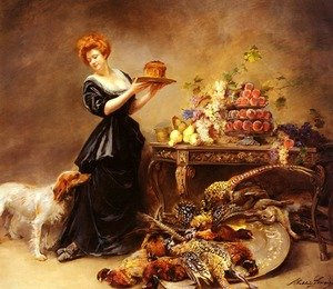 Famous paintings of Meat: Allegorie De L'Automne: La Duchesse De Gramont Presente Un Etalage De Fruits Et De Giber (Allegory Of Autumn: The Duchess of Gramont with a Spread of Fruit and Fowl)
