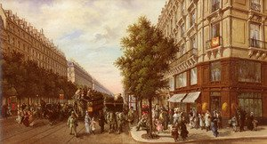 Famous paintings of Trams: Boulevard Des Italiens (The Italian Boulevard)