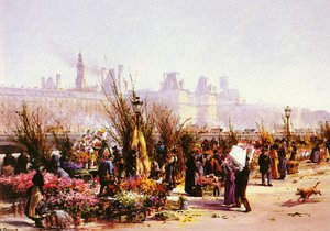Famous paintings of Markets: Le Marche Aux Fleurs A Paris