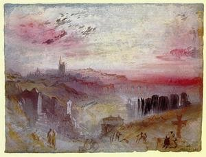 Reproduction oil paintings - Turner - View over Town at Suset: a Cemetery in the Foreground
