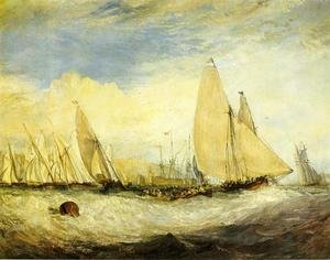 Reproduction oil paintings - Turner - East Cowes Castle, the seat of J. Nash, Esq.; the Regatta beating to windward