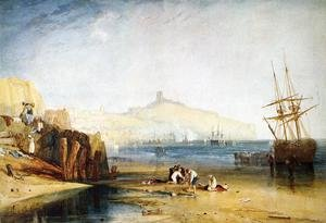 Reproduction oil paintings - Turner - Scarborough Town and Castle: Morning: Boys Catching Crabs