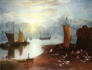 Reproduction oil paintings - Turner - Sun Rising through Vagour; Fishermen Cleaning and Sellilng Fish