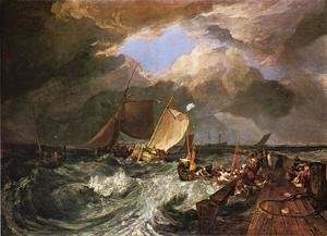 Famous paintings of Storms & Rough Water: Calais Pier, with French Poissards Preparing for Sea: an English Packeet Arriving