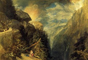 Reproduction oil paintings - Turner - The Battle of Fort Rock, Val d'Aoste, Piedmont