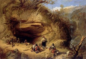 Famous paintings of Caves: Scene Near Zeldkirch In The Tyrol