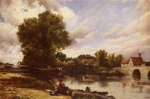 Famous paintings of Villages: Along The River